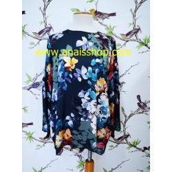 Blusa larga marino con estampado floral