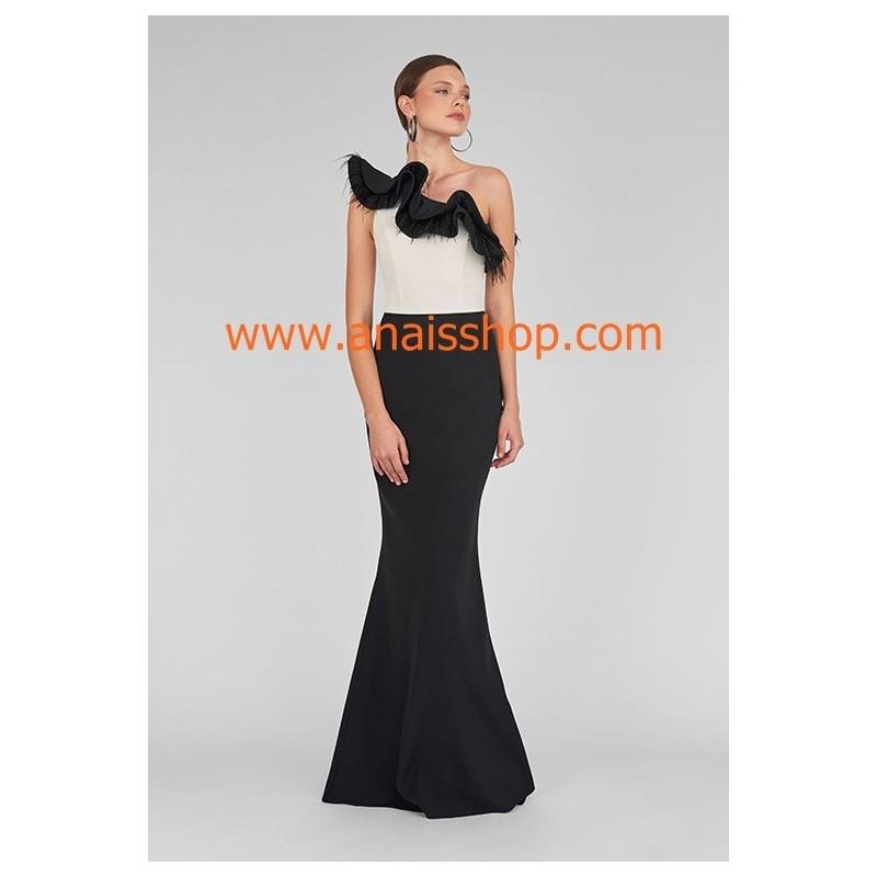 mejor elección atractivo y duradero salida de fábrica vestido largo de fiesta con un solo hombro en blanco y negro