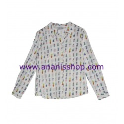 Camisa camisera de manga larga y estampado de piñas