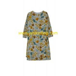 Vestido de punto con estampado de hojas