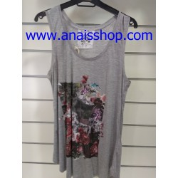 Camiseta de sisas en color gris medio