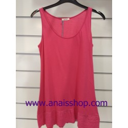 Camiseta larga de sisas en color fucsia