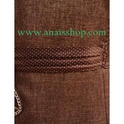 Vestido de corte recto y manga corta en color marrón