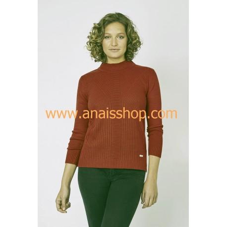 Jersey cuello perkins en color caldera
