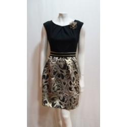 Vestido corto  en color negro y dorado